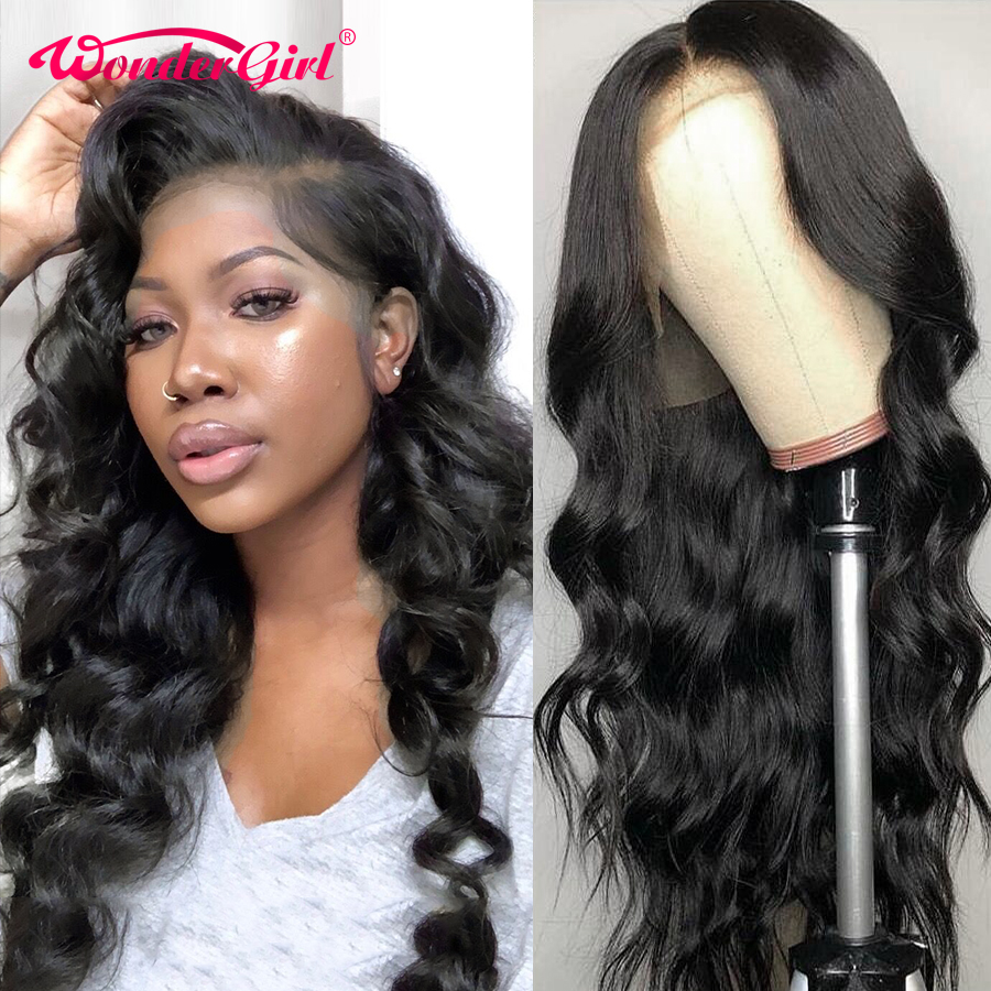 Wonder girl Body Wave 13x6 Lace Front Human Hair Wigs Remy 360 Lace Frontal Wig Pre Plucked With Baby Hair 13x4Peruvian Lace Wig image