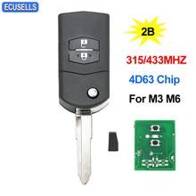באיכות גבוהה 2 כפתור קיפול מרחוק מפתח Fob Flip חכם רכב מפתח 315Mhz או 433Mhz עבור מאזדה 3 6 M3 M6 עם 4D63 שבב נימול להב