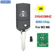 Chave remota automotiva, chave dobrável de alta qualidade, 2 botões, 315mhz ou 433mhz para mazda 3 lâmina sem corte 6 m3 m6 com 4d63 chip