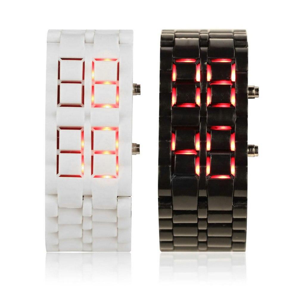 Fashion Men Women Lava Iron Samurai Plastic LED Bracelet Watch Wristwatch Sports Style Relogio Hot