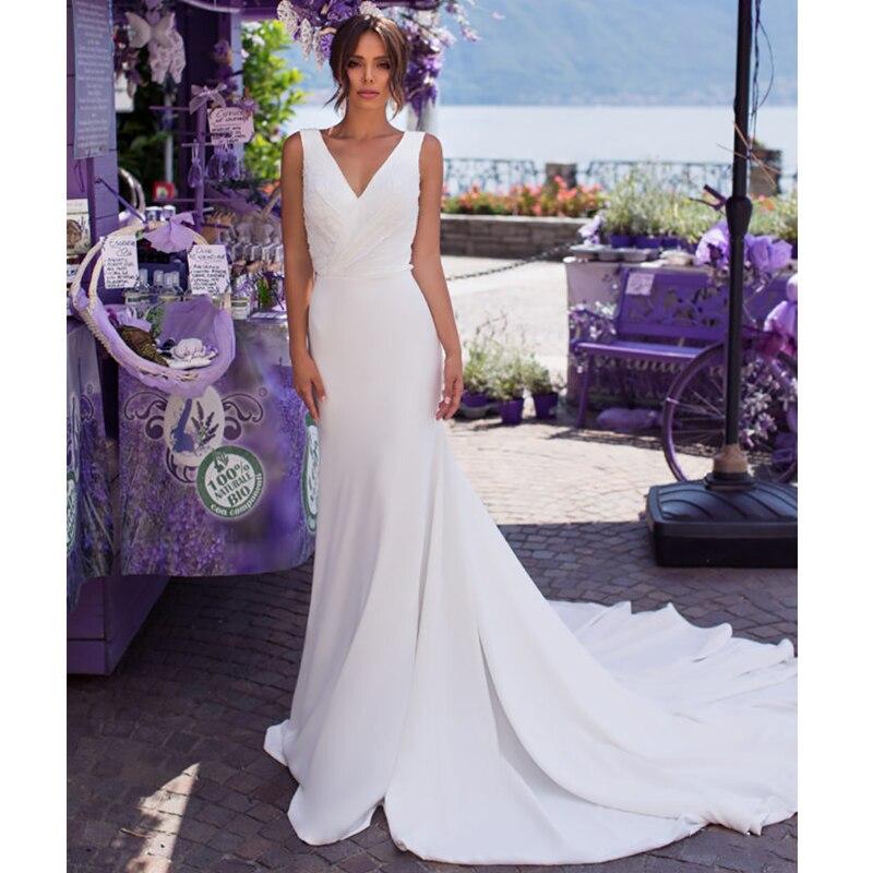 Verngo Mermaid Wedding Dress Wedding Gowns Elegant Sleeveless Bride Dress Vestido De Noiva Vestidos Noiva Simples