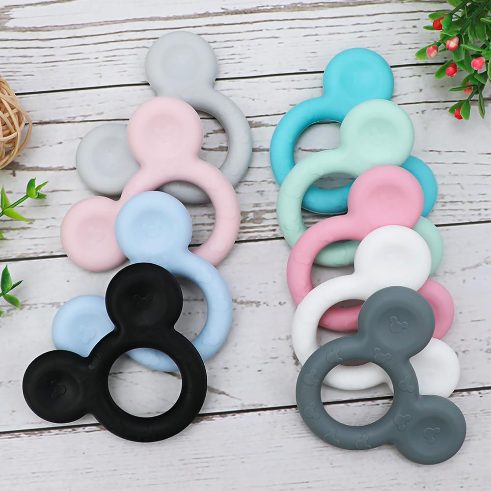 1pc Mickey Silicone Teether Food Grade Cartoon Teether Nursing Gift BPA Free DIY Baby Teething Teether Toy Accessories Ring