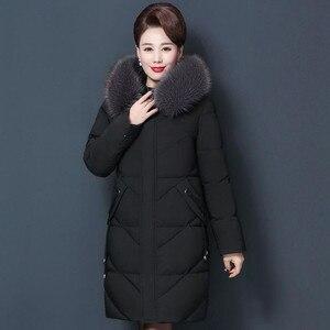 Image 2 - Veste dhiver pour femmes, manteau à capuche pour maman, grande taille 7XL 8XL, Parka épais en coton, manteaux chauds et longs, C5865