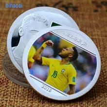 La Copa del Mundo de fútbol brasileño estrella, Neymar conmemorativa medallón chapado en oro de inyección de tinta de color monedas artesanías monedas de desafío
