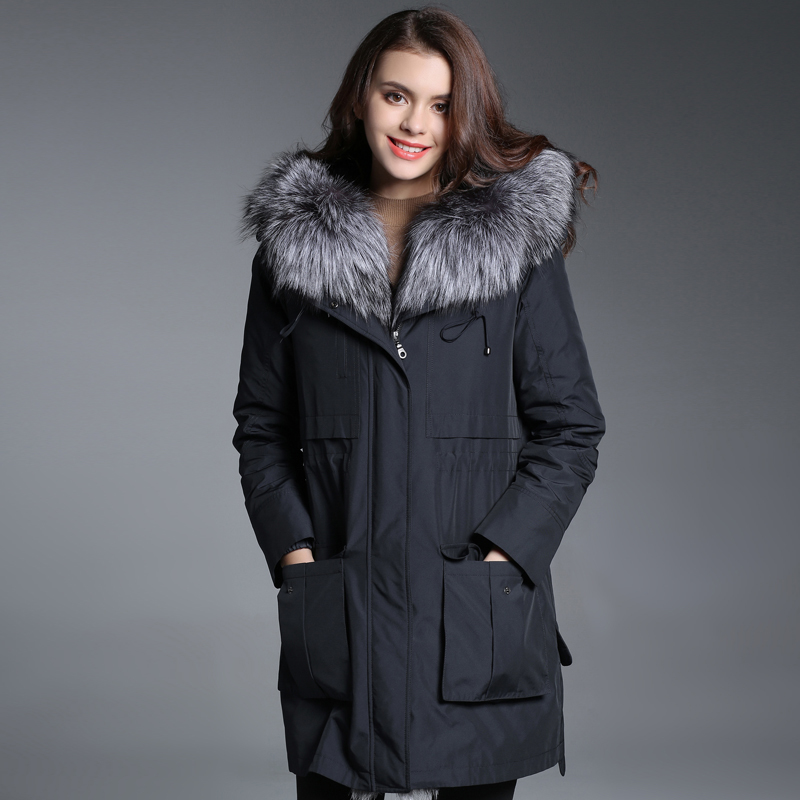 Fur Real 2020 Coat Female Natural Rabbit Fur Parka Winter Jacket Women Fox Fur Collar Long Jackets Warm Overcoat MY4109 S