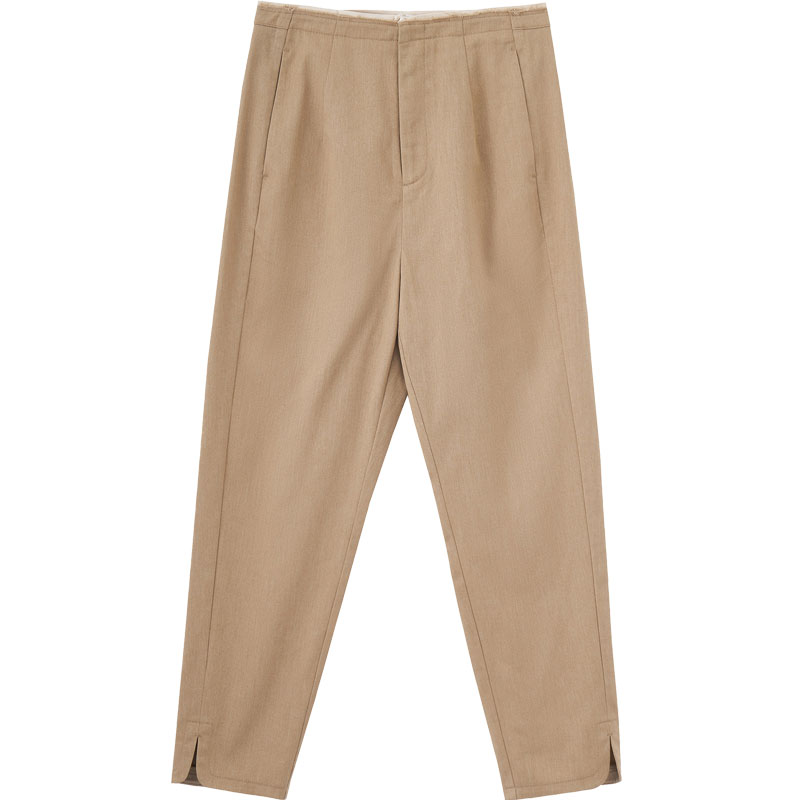 Image 5 - INMAN Spring Autumn Minimalism Medium Waist Split Slim Slit Khaki Women Casual PantsPants & Capris   -