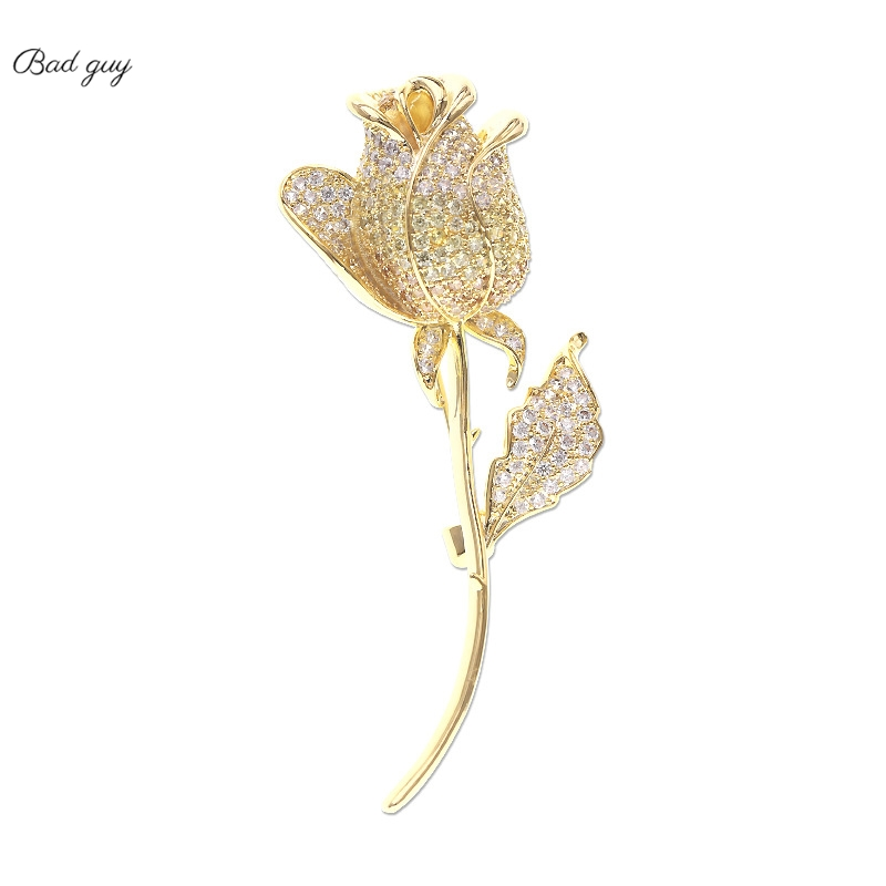 Vintage Golden Rose Jewelry Colorful Zicon Brooch Pin for Women Clothes Scarf Buckle Garment Accessories Fashion Jewelry-0