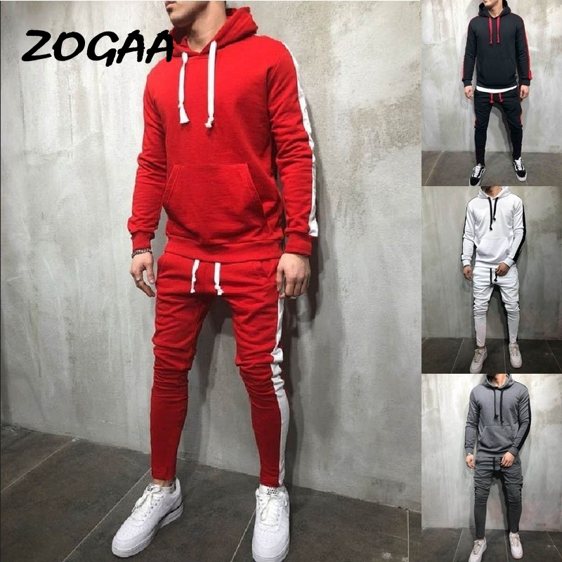 ZOGAA 2020 Men's Casual Hoodies Sets Fashion Color Block Tracksuit For Men Sweatsuit Male Outfit Sportswear Jogger Set Hot Sale
