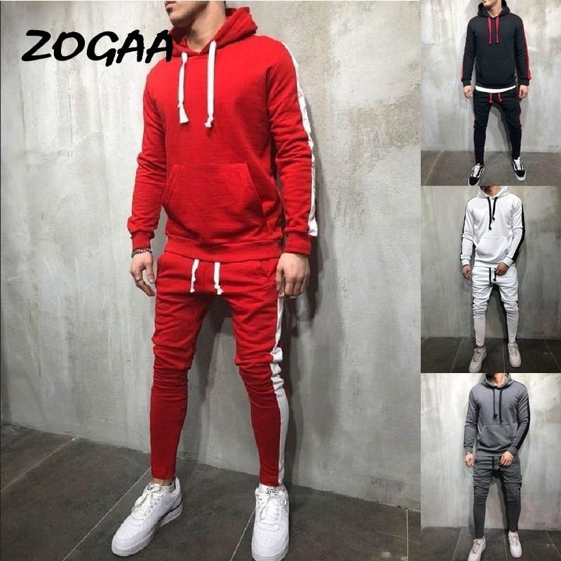 ZOGAA 2020 Men's Casual Hoodies Sets Fashion Color Block Tracksuit For Men Sweatsuit Male Outfit Sportswear Jogger Set Hot Sale