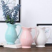 Ceramic Kettle Flower Vase Pure Color Gray Pink Blue White Flower Arrangement Milk Pot Stylist Farmhouse Style Pot Bottle