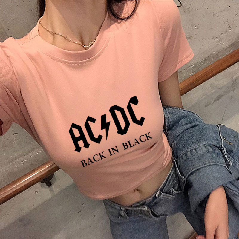 AC/DC Band Rock T-Shirt Women's ACDC Letter Printed Graphic Tshirts Hip Hop Rap Music Short Sleeve Sexy Crop Tops Tee Shirt