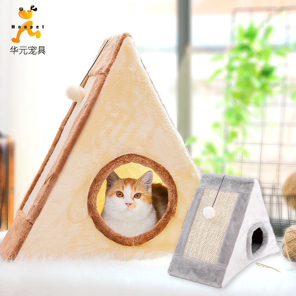 Cat Climbing Frame Cat Teaser Toy Cat Claws Grinding Sisal Cat Scratch Board Cat Nest Cat Supplies Hoopet Currently Available Wh