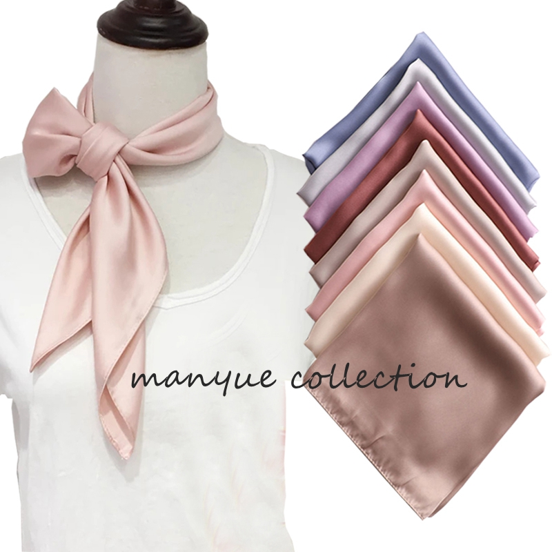 Hot Sell Women's Small Silk Square Scarf Neck Scarves For Ladies Hair Scarfs Solid Female Foulard Neckerchief Shawls Bandanas