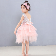 2020 Summer Girl Pink Elegant Bridesmaid Dress Girl Princess Tutu Vestido For Party Wedding Children Clothes Cotume(China)