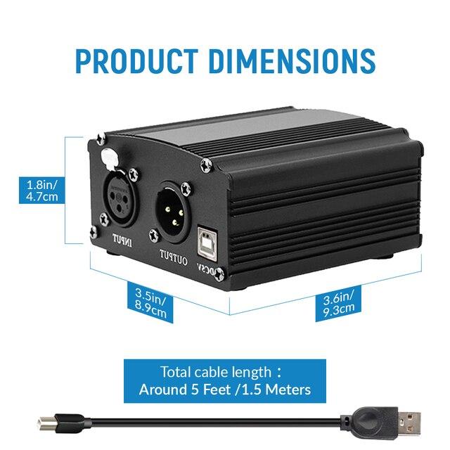 Bm800 Studio Microphone 48V USB alimentation fantôme karaoké bm 800 Microphone pour ordinateur carte son alimentation fantôme avec câble XLR