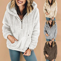 new winter warm thick casual hooded woman fleece fashion loose solid long sleeve pullover hooded female sweatshirt