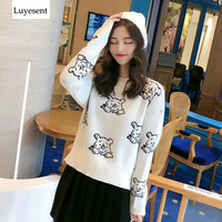 Cute Cartoon Pooh Bear Women Pullover Sweater 2020 Beige Black Lady Loose O Neck Lovely Basic Knit Top Fashion Outdoor Jumpers