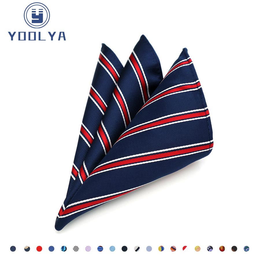 Classic Men's Silk Handkerchief Striped Hanky Jacquard Woven Pocket Square Chest Towel 25*25cm For Adult Wedding Business Party