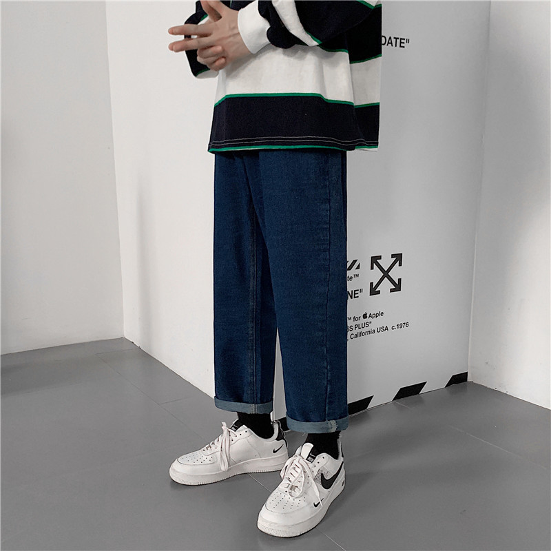 Japanese-style Autumn Retro Loose-Fit Jeans Korean-style Wide-Leg Straight-Cut Pants Hong Kong Style Trend Students Versatile Tr