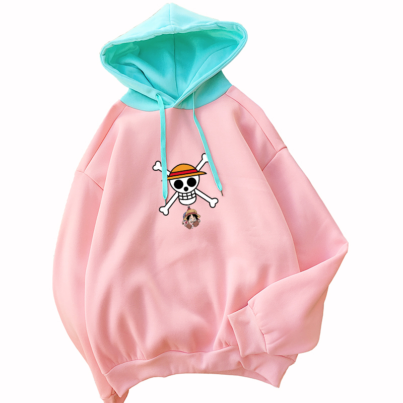 Japanese Anime ONE PIECE Hoodies Women Harajuku Spell Color Spliced Sweatshirt Casual Streetwear Kawaii Cartoon Print Thick Tops