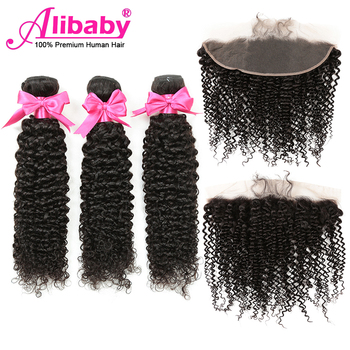 Alibaby 3 Bundles With Frontal Remy Kinky Curly Bundles With Closure Natural Color Human Hair Bundles With Frontal Closure 13x4 alibaby 3 bundles with frontal remy kinky curly bundles with closure natural color human hair bundles with frontal closure 13x4
