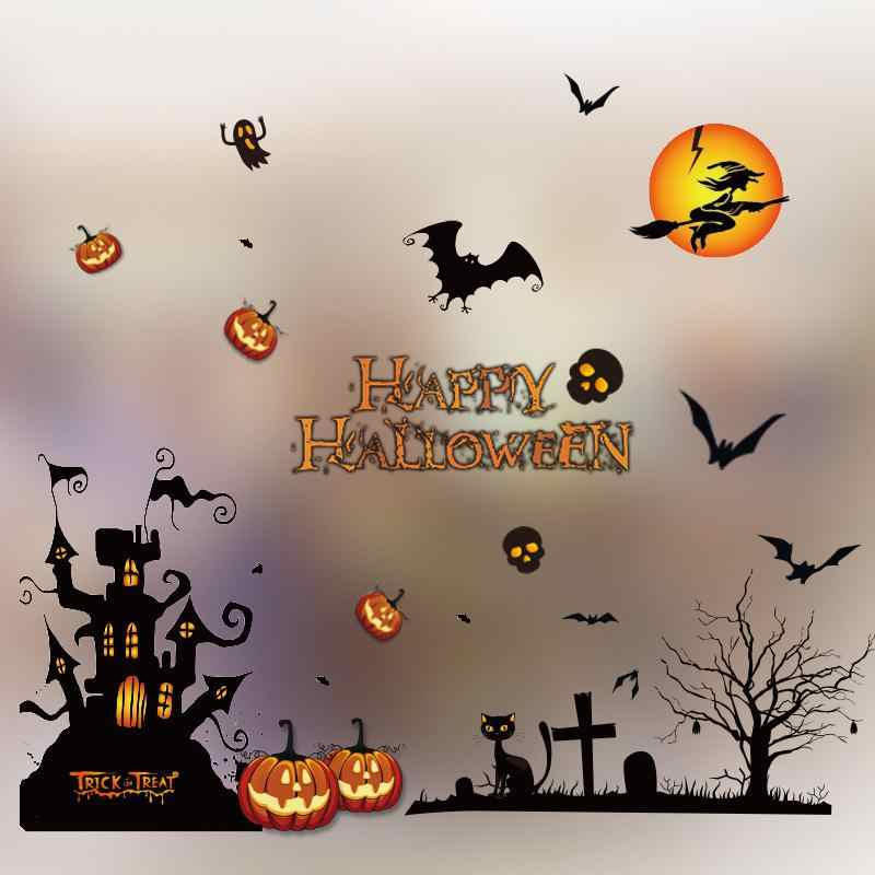 Halloween wall sticker Static Showcase Glass Sticker for Halloween Bar Kindergarten Decoration
