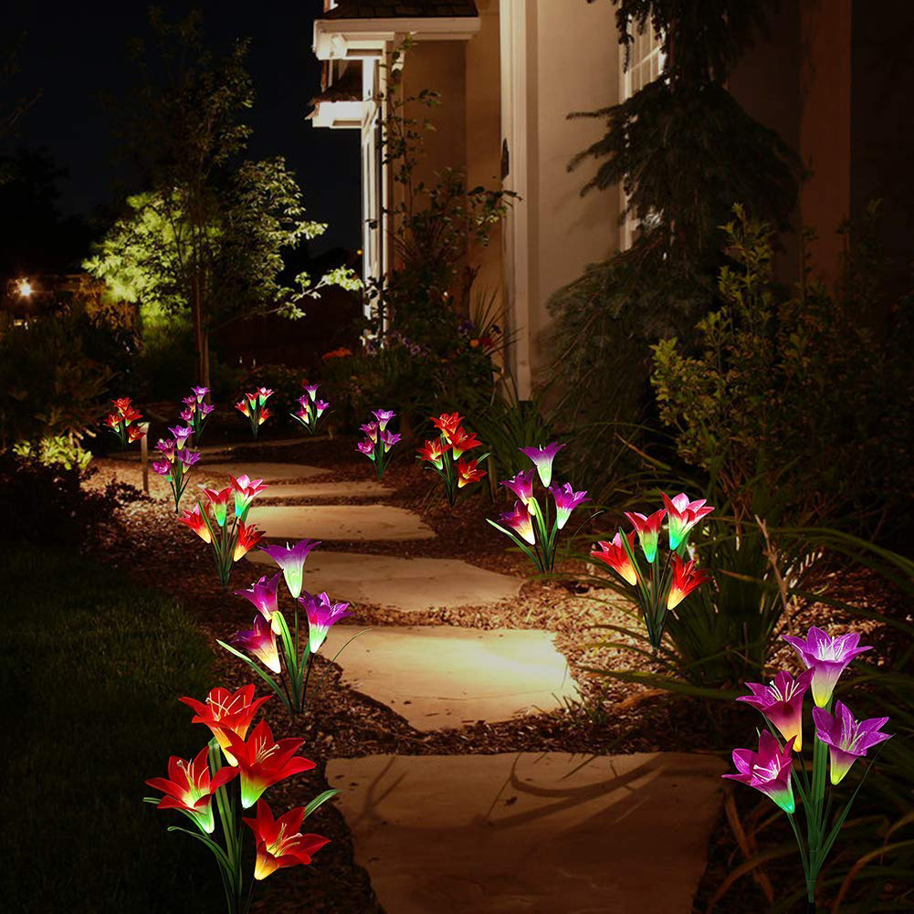 Outdoor Artificial Lily Solar Powered Garden Light Waterproof 7 Color Change Lighting Butterfly Flower Led Fairy Light Lawn Lamp
