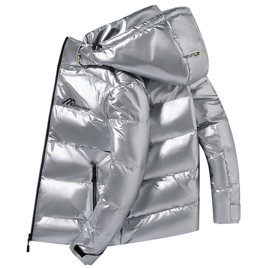 Shiny Fabric Down Jacket Men White Duck Thick Winter Warm Parka Waterproof Down Coat
