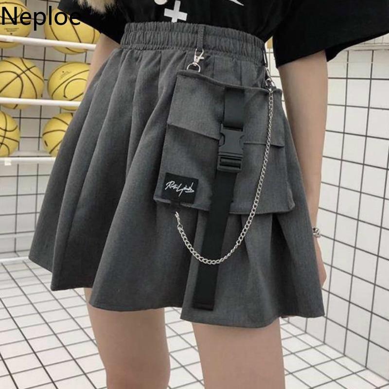 Neploe Korean Preppy Style High Waist Pleated Jupe 2020 News Wild A Line Pocket Femme Skirts Beach Above Knee Mini Autumn 45635