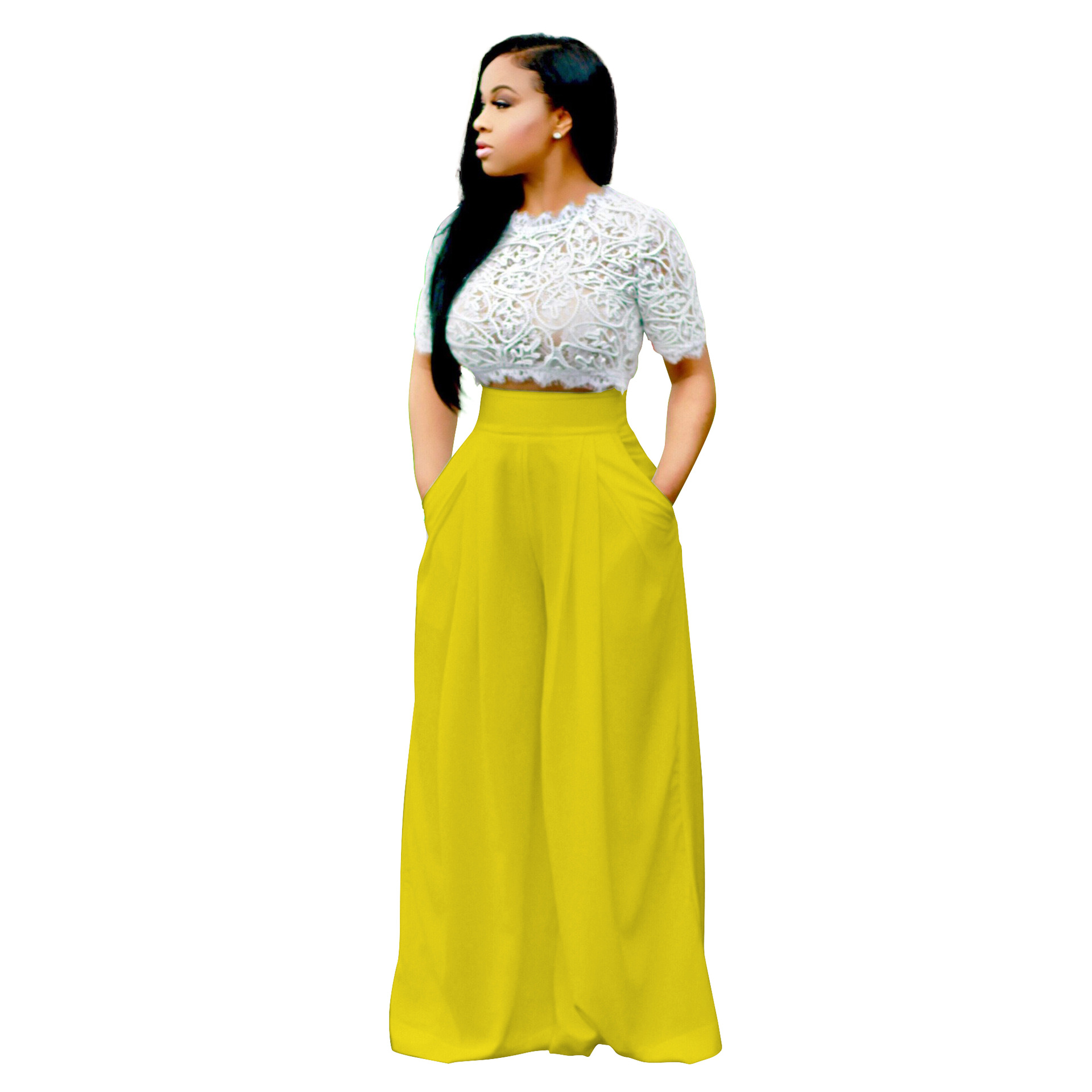ANJAMANOR Summer Women Two Piece Set Fashion Outfits White Lace Short Sleeve Crop Top And Loose Wide Leg Pants Suit D48-AF47