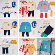 Брендовая одежда для детей в Корейском стиле; модная одежда толстовки Animal Толстовка для маленьких мальчиков и девочек Повседневное на осень-зиму Топы Bebe De Пи