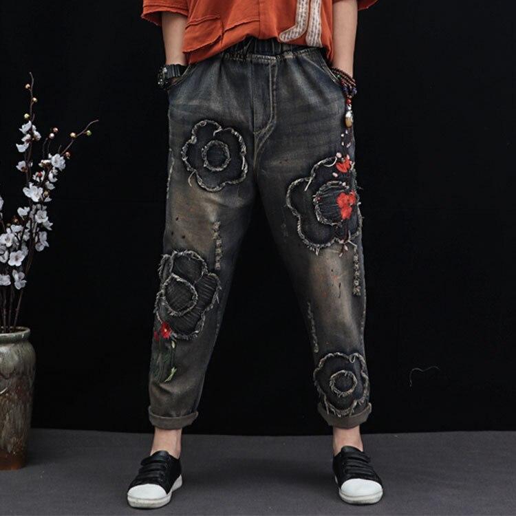 Рваные джинсы с цветочной вышивкой, женские отбеленные потертые уличные штаны шаровары, винтажные этнические брюки с эластичным поясом, но