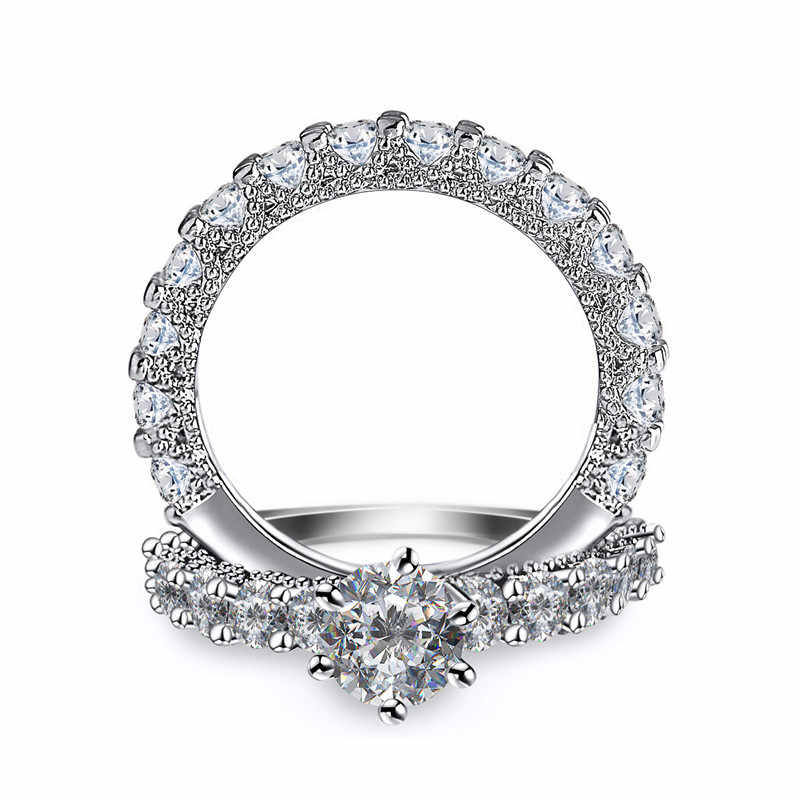 Crystal Vrouwelijke Zirkoon Wedding Ring Set Mode Zilveren Kleur Bruids Sets Sieraden Promise Liefde Engagement Ringen Voor Vrouwen