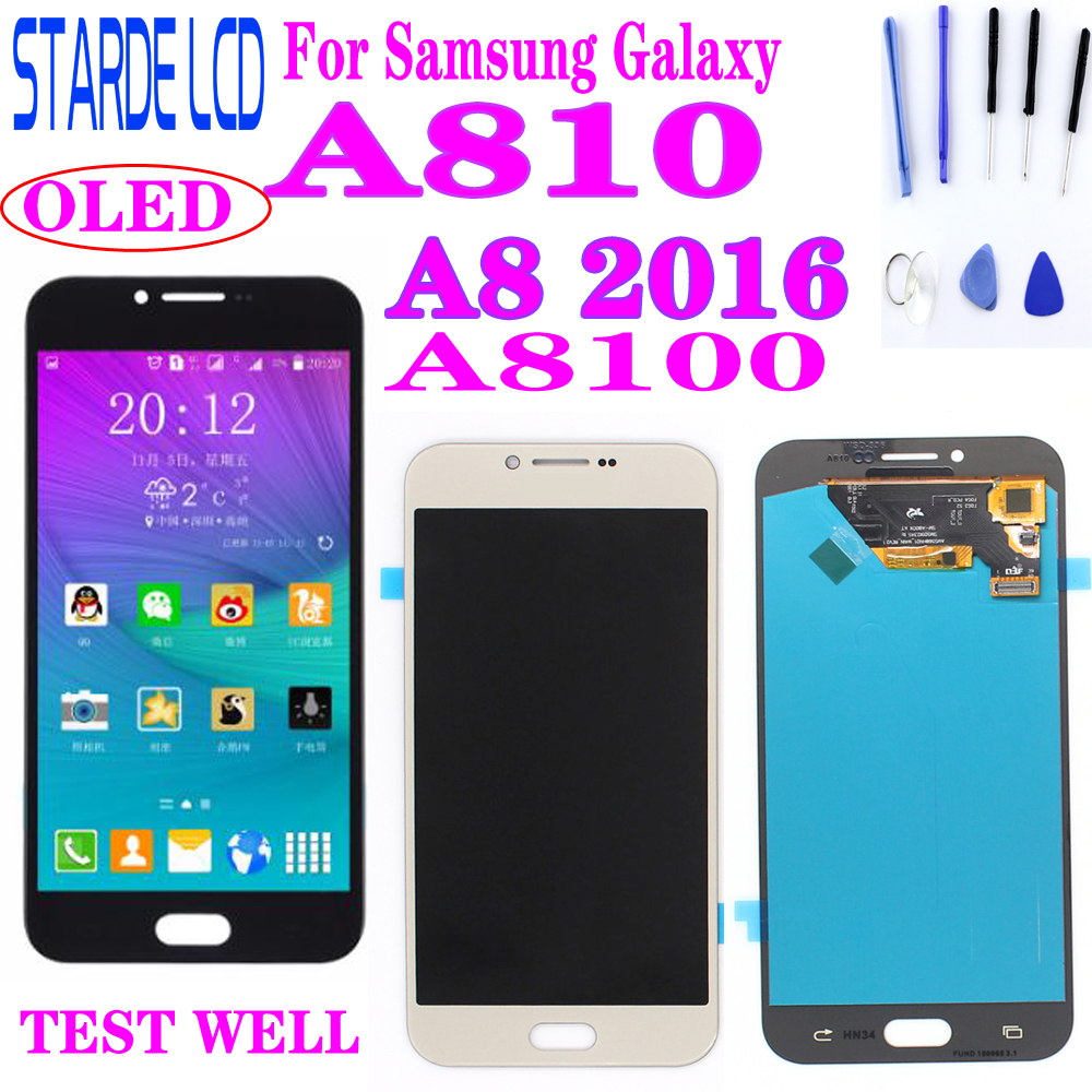 AAA+ Super AMOLED LCD Display For Samsung Galaxy A8 2016 A8100 A810 LCD Touch Screen Digitizer Assembly A810F A810U A81 LCD image