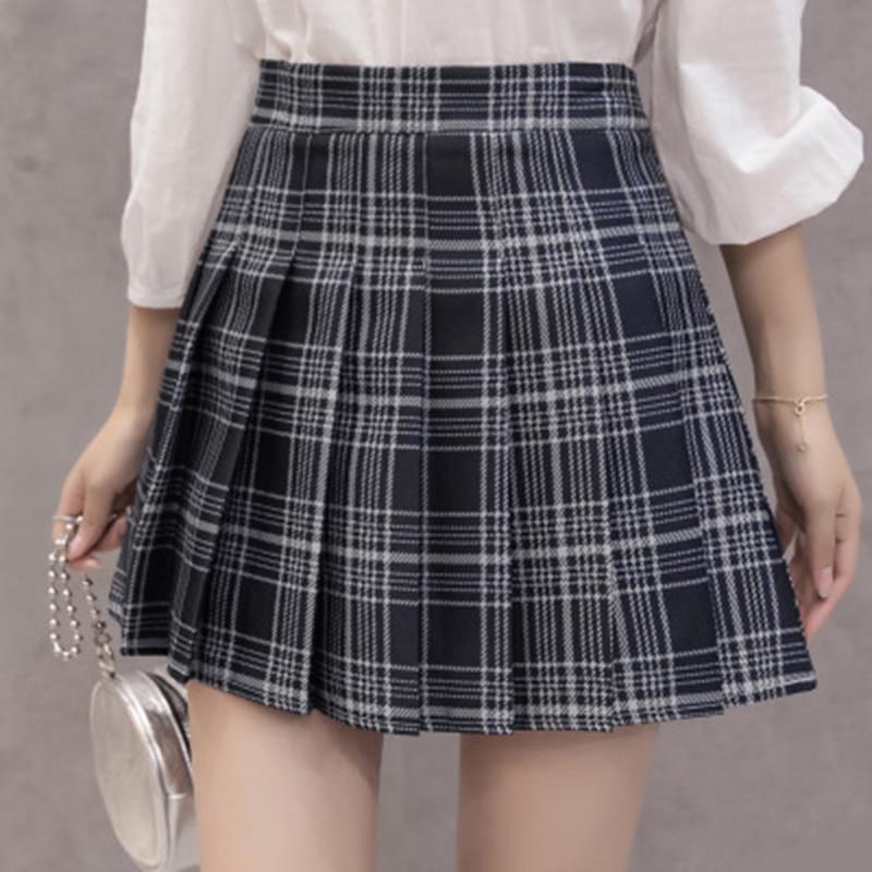 Women Pleat Skirt Harajuku Preppy Style Plaid Skirts Mini Cute Japanese School Uniforms Ladies Kawaii Skirt Saia Faldas