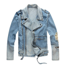 High Street Fashion Men Jackets Retro Destroyed Zipper Punk Denim Jacket Men Ripped Hip Hop Coats Brand Designer Biker Jackets
