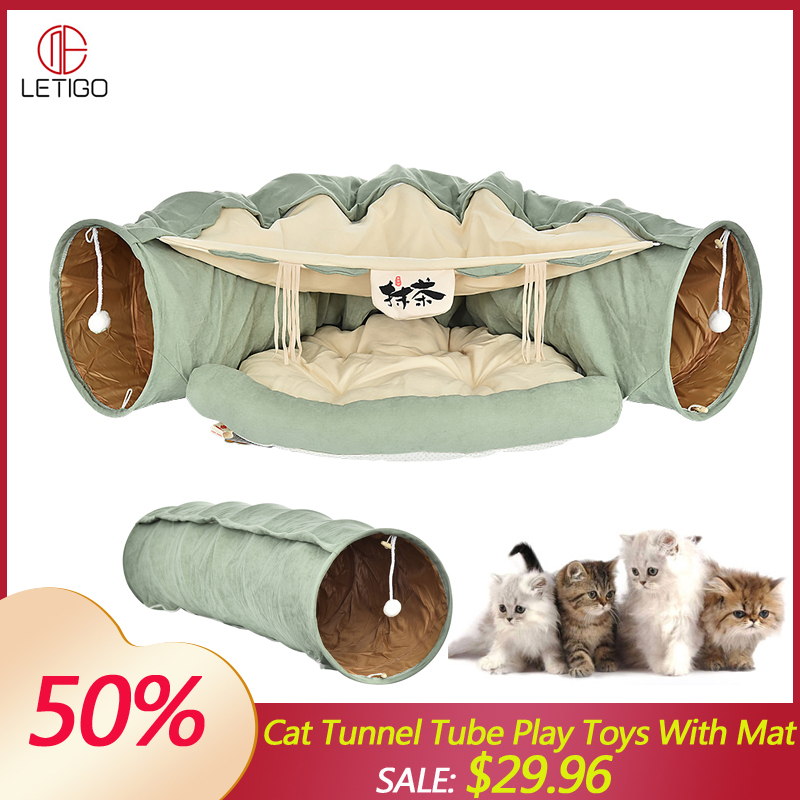 Cat Bed Tunnel Collapsible Removeable Cat Tunnel Tube Pet Interactive Play Toys with Plush Balls For Cat Puppy Pet Supplies image