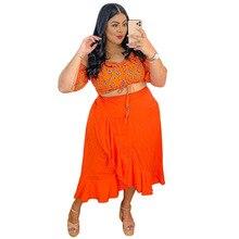 Women Plus Size Set Off Shoulder Short Sleeve Slash Neck Crop Tops Loose Skirts Two Piece Sets Fashion Outfit Summer