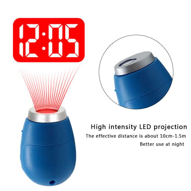מיני דיגיטלי הקרנת שעון נייד LED קיר תקרת זמן הקרנת שעון קסם לילה אור אלקטרוני שעון מפתח שרשרת דקור
