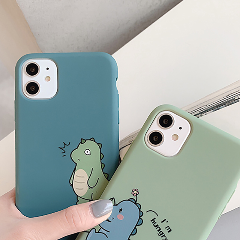 Thin Soft Case Simple Cute Cartoon Couple Dinosaur Cover For iPhone 11 Pro Max X Xs XR 7 8 Plus SE 2020 Silicone Phone Soft Case