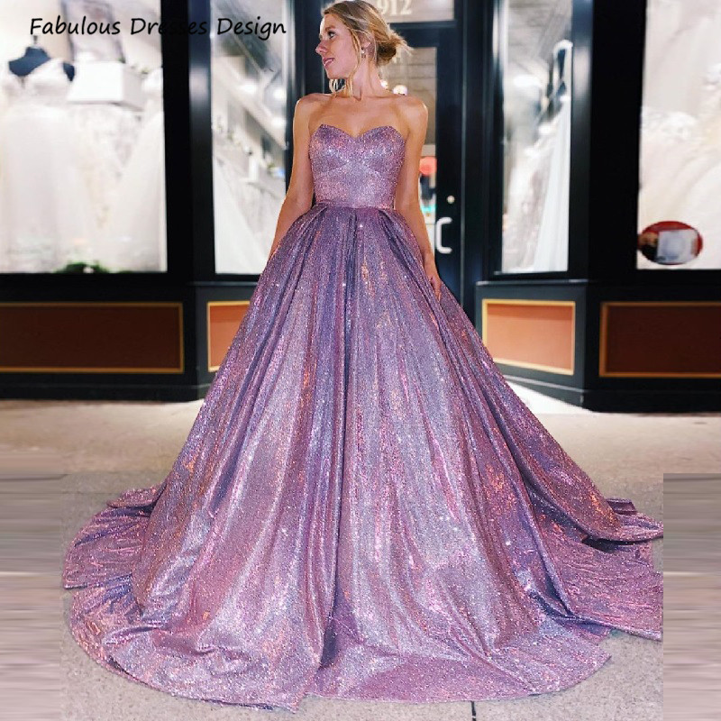 Princess Strapless A Line Prom Dresses 2021 Bling Sequin Backless Sweetheart Lilac платье Long Evening Dress Party For Women