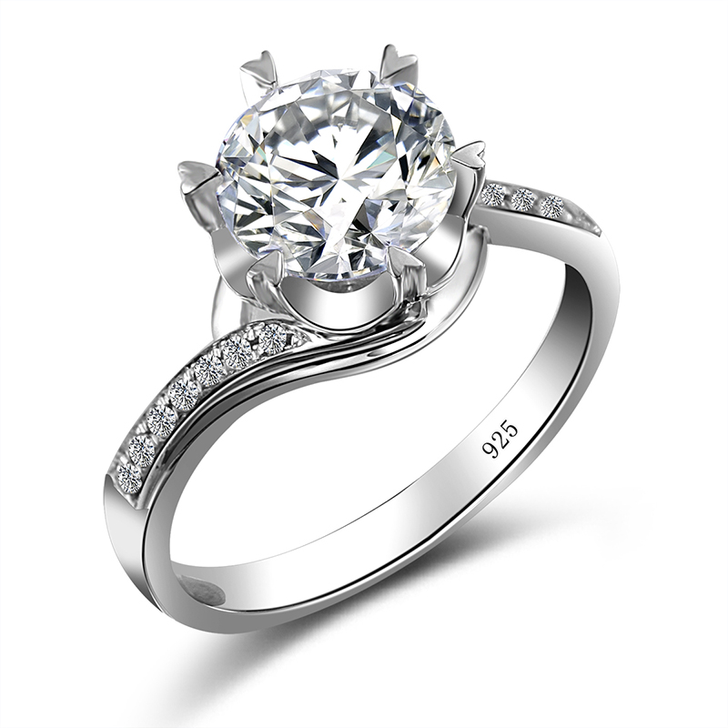 Szjinao Echt 925 Sterling Silber Ring 2ct Klassische Stil Moissanite Diamant Ring D Farbe VVS1 Hochzeit Eternity Schmuck Für Frauen