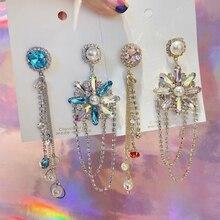 MENGJIQIAO Korean Fashion Asymmetry Snowflake Crystal Drop Earrings For Women Long Rhinestone Tassel Pendientes Jewelry Gifts
