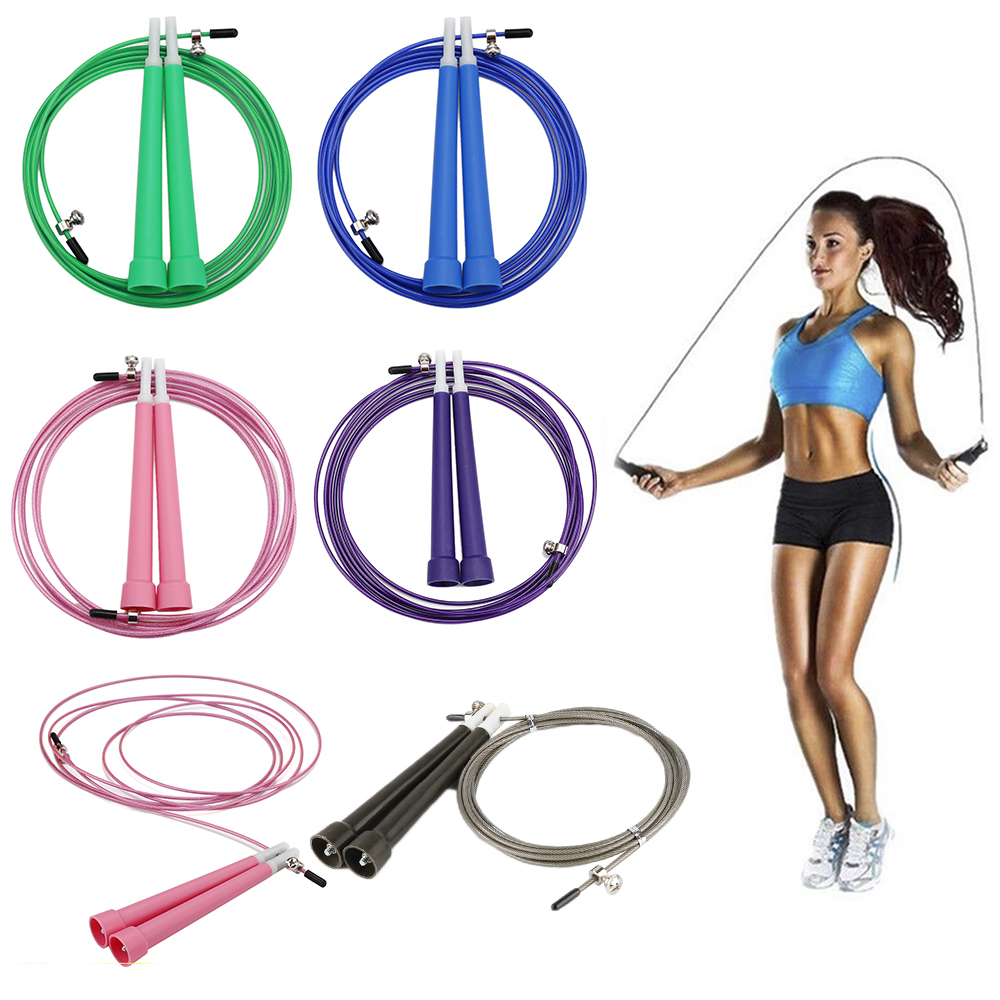 1x Adjustable <font><b>Skipping</b></font> Jump <font><b>Ropes</b></font> Steel Wire Fitness Exercise Cardio Lose Weight strength Training <font><b>Crossfit</b></font> Lose Weight image