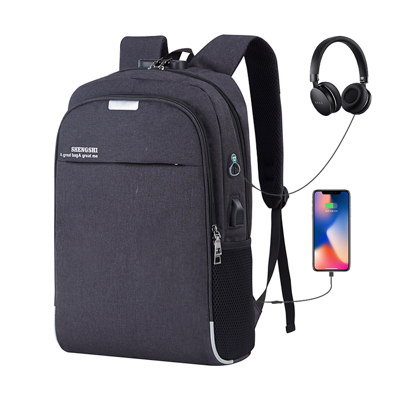 New 15.6inch USB Charging Headphone Cable Hole Laptop Backpack Rucksack Male Business Travel Back Pack School Bag Women Mochila
