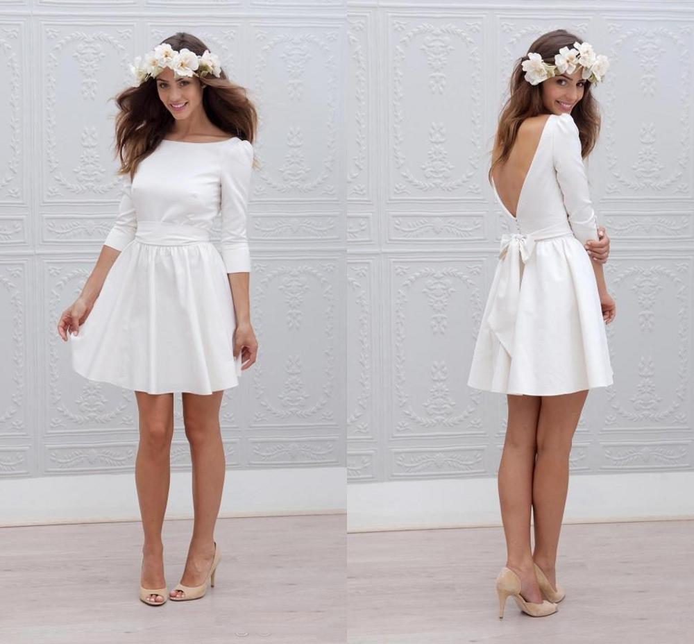 2020 New Elegant Boho Short Wedding Dresses Scoop A Line 3/4 Long Sleeves Satin Knee Length Beach Bridal Wedding Gowns Vestidos