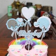 Elephant Baby Birthday Cake Topper Cloud Flags Kid Favors Decoration Cupcake for Wedding Dessert Decor