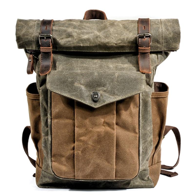 MUCHUAN-sacs à dos en toile Vintage pour hommes, grands sacs de jour étanches, style rétro, sacs à dos de voyage, cire à l'huile