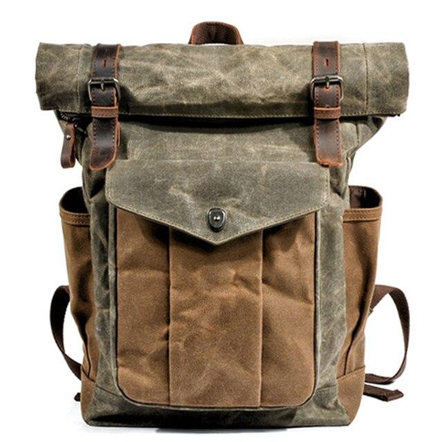 MUCHUAN Vintage Vintageกระเป๋าเป้สะพายหลังผ้าใบสำหรับผู้ชายน้ำมันแว็กซ์ผ้าใบหนังกระเป๋าเป้สะพายหลังกันน้ำขนาดใหญ่Daypacks Retro Bagpack