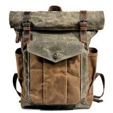 MUCHUAN الفاخرة خمر قماش حقائب الظهر للرجال النفط الشمع قماش حقيبة السفر الجلدية كبيرة مقاوم للماء daypack الرجعية على ظهره